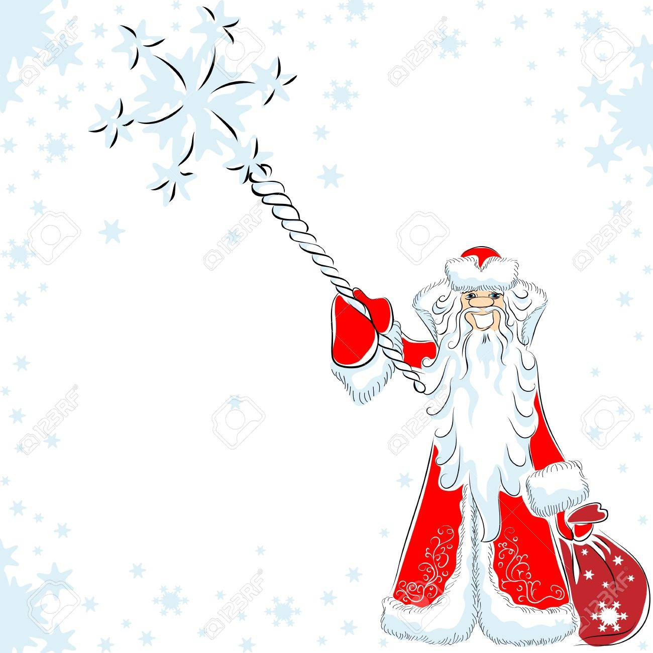 happy Santa Claus or Father Frost conjures, pointing his staff at the viewer around the flying Stock Vector - 11172727