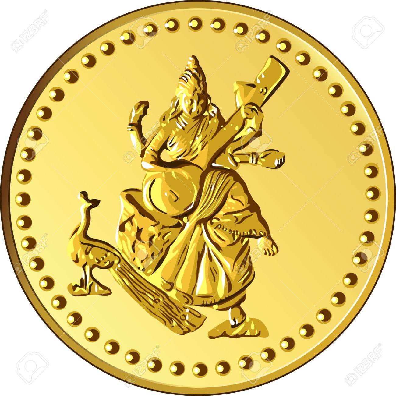 shiny gold coin with the image of dancing and playing a musical instrument of Indian four-armed Shiva Stock Vector - 11296058