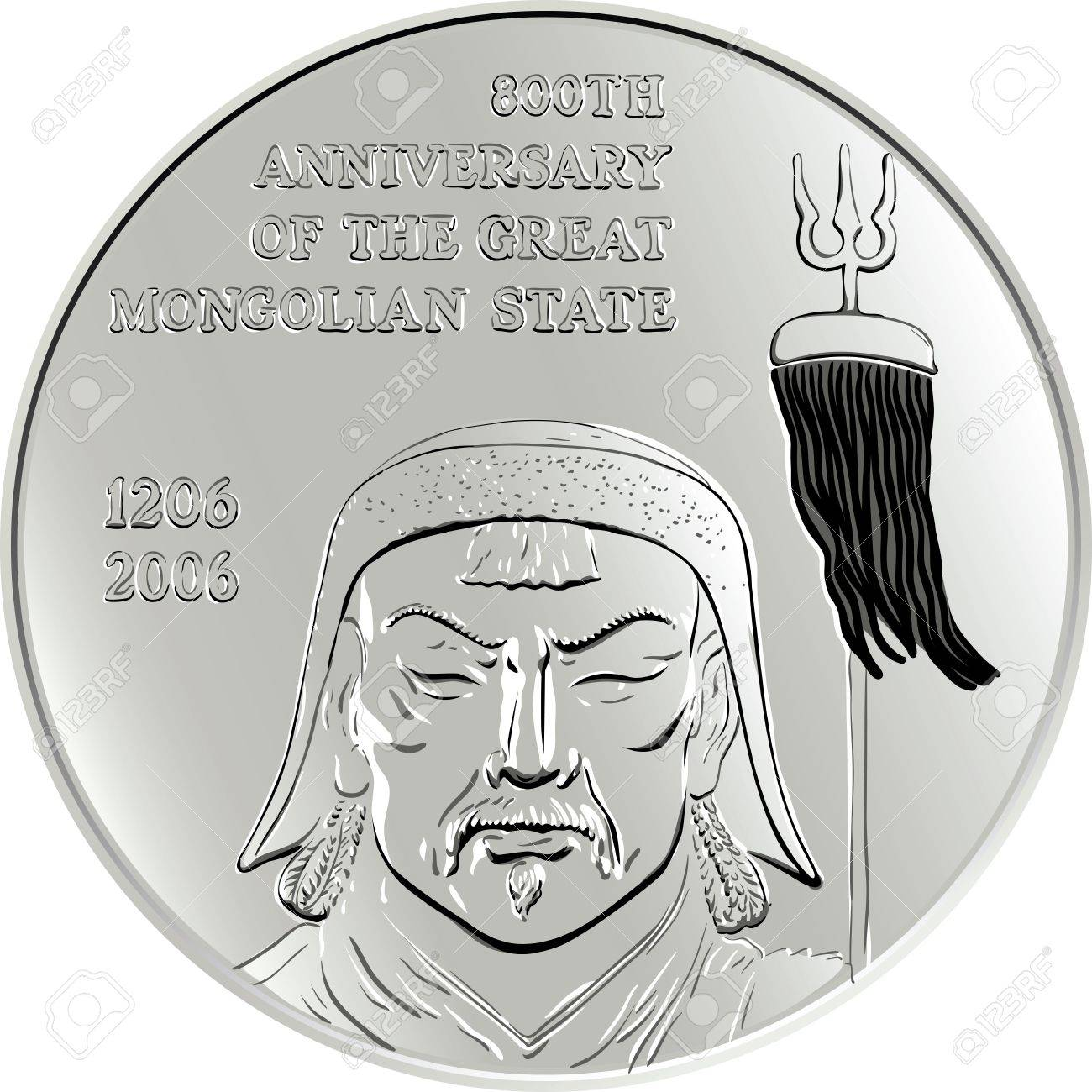 Shiny silver commemorative coin depicting the mongol genghis shiny silver commemorative coin depicting the mongol genghis khan isolated on white background stock vector biocorpaavc Images