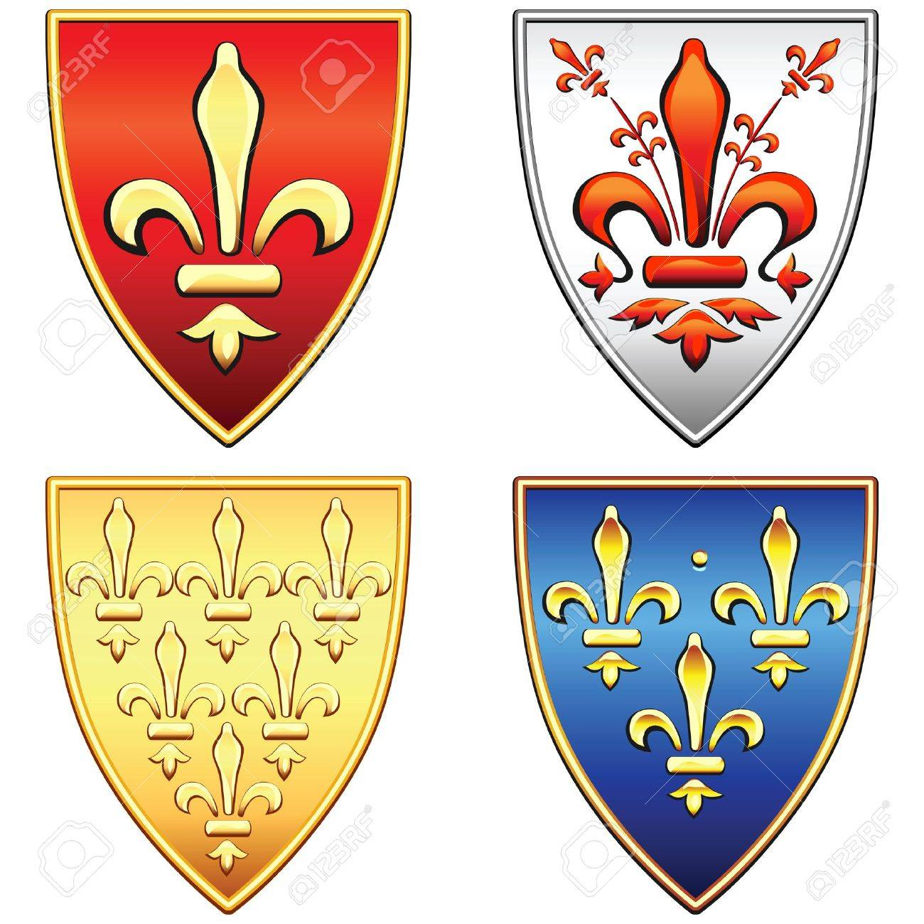 traditional old shields with the arms of France and Florence, lily (fleur de lis) in blue, red, gold, silver background, isolated on white background Stock Vector - 11498473