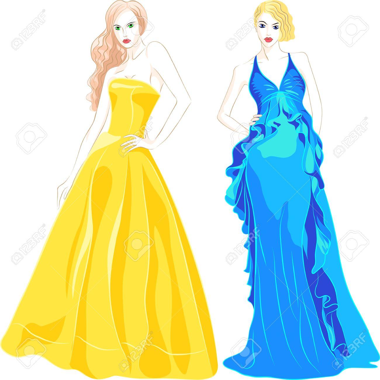 Mode Avondjurken.Mooie Jonge Meisjes Met Lang Haar In Een Mode Avondjurken Blauw En