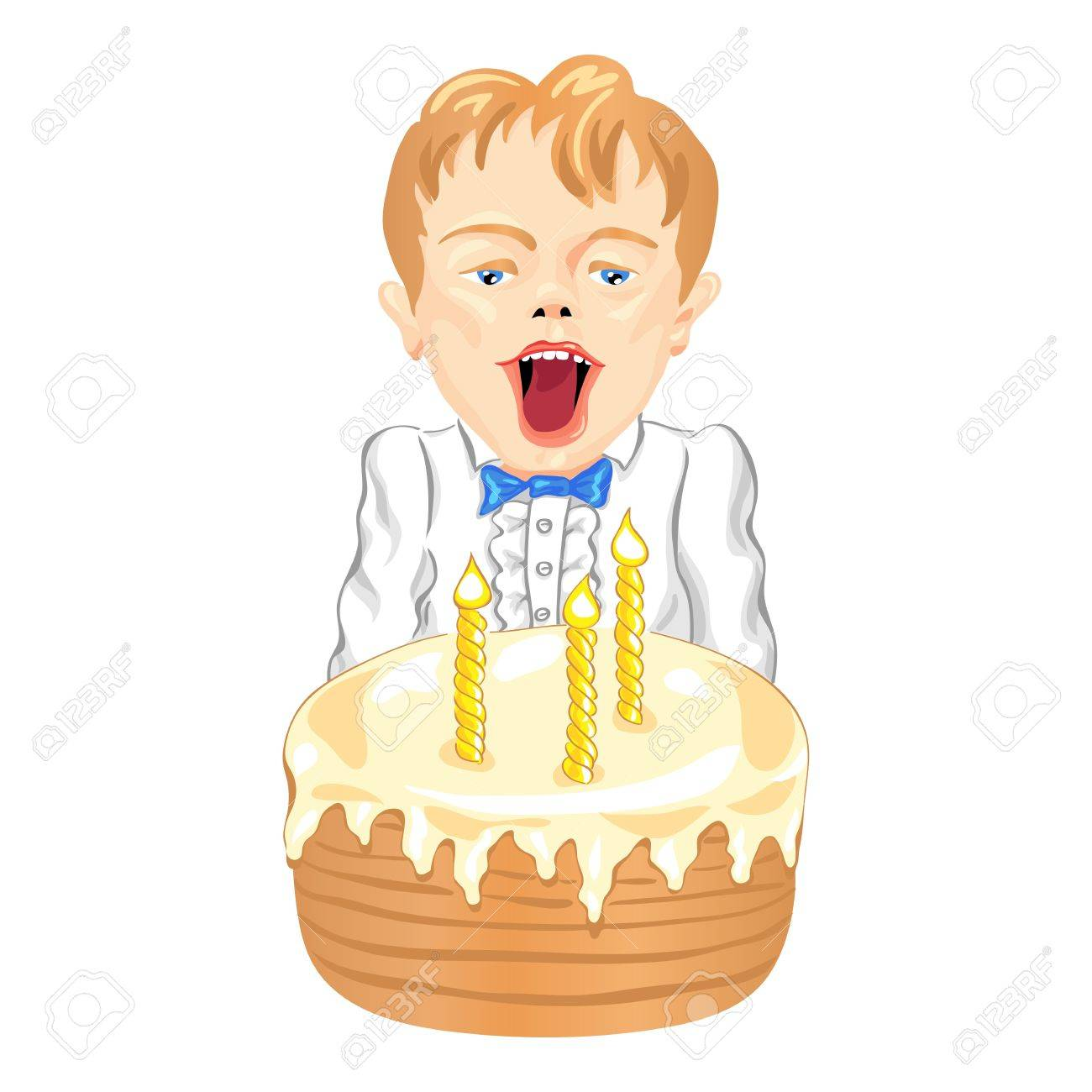 Little Boy Blowing The Candles On A Birthday Cake Royalty Free