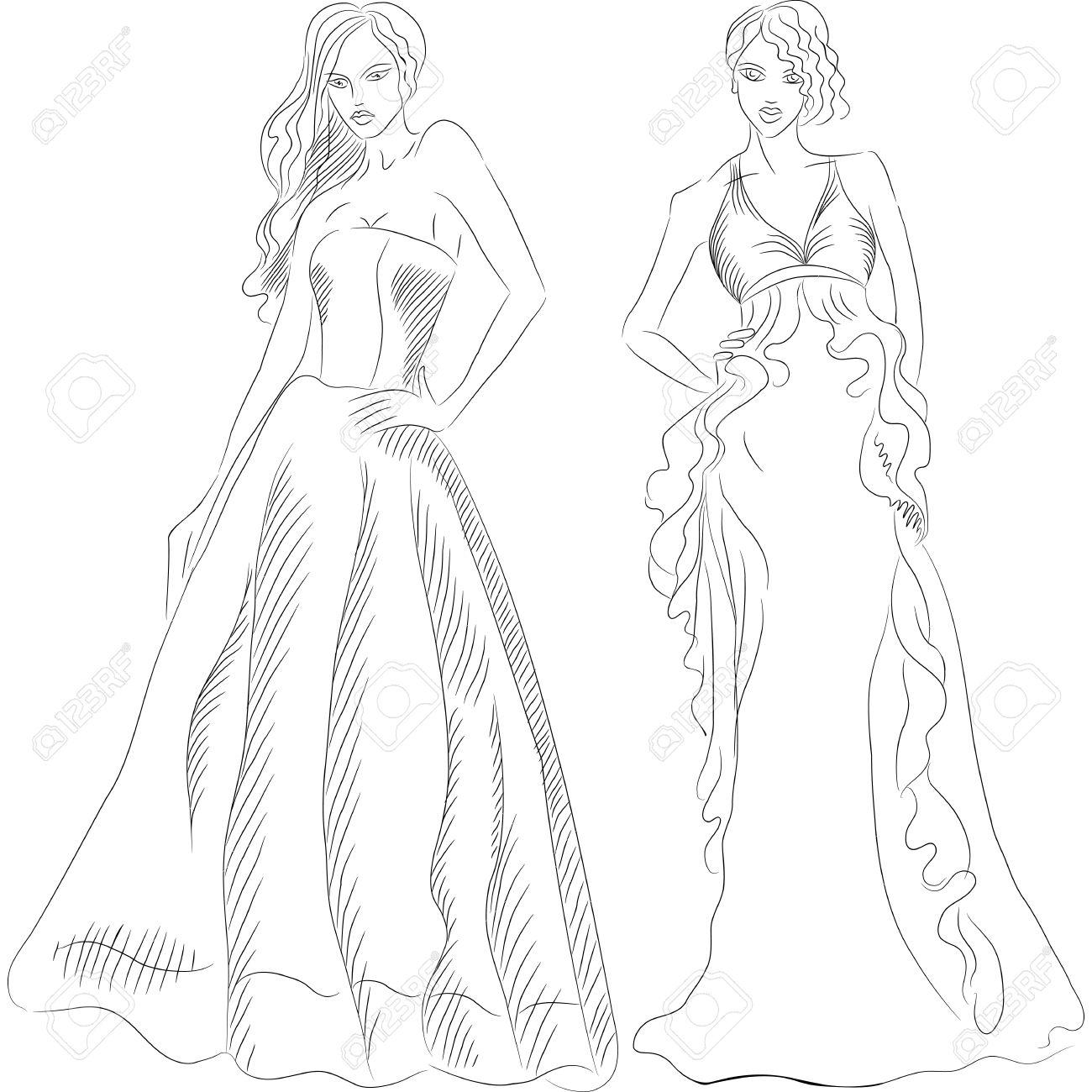 Vestidos de noche para dibujar