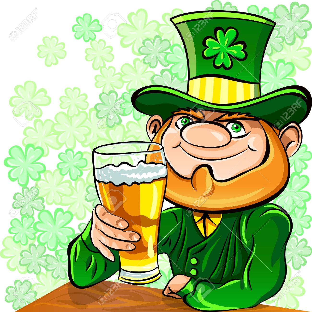 Vector St. Patrick's Day Happy Leprechaun Drinks Beer Royalty Free ...