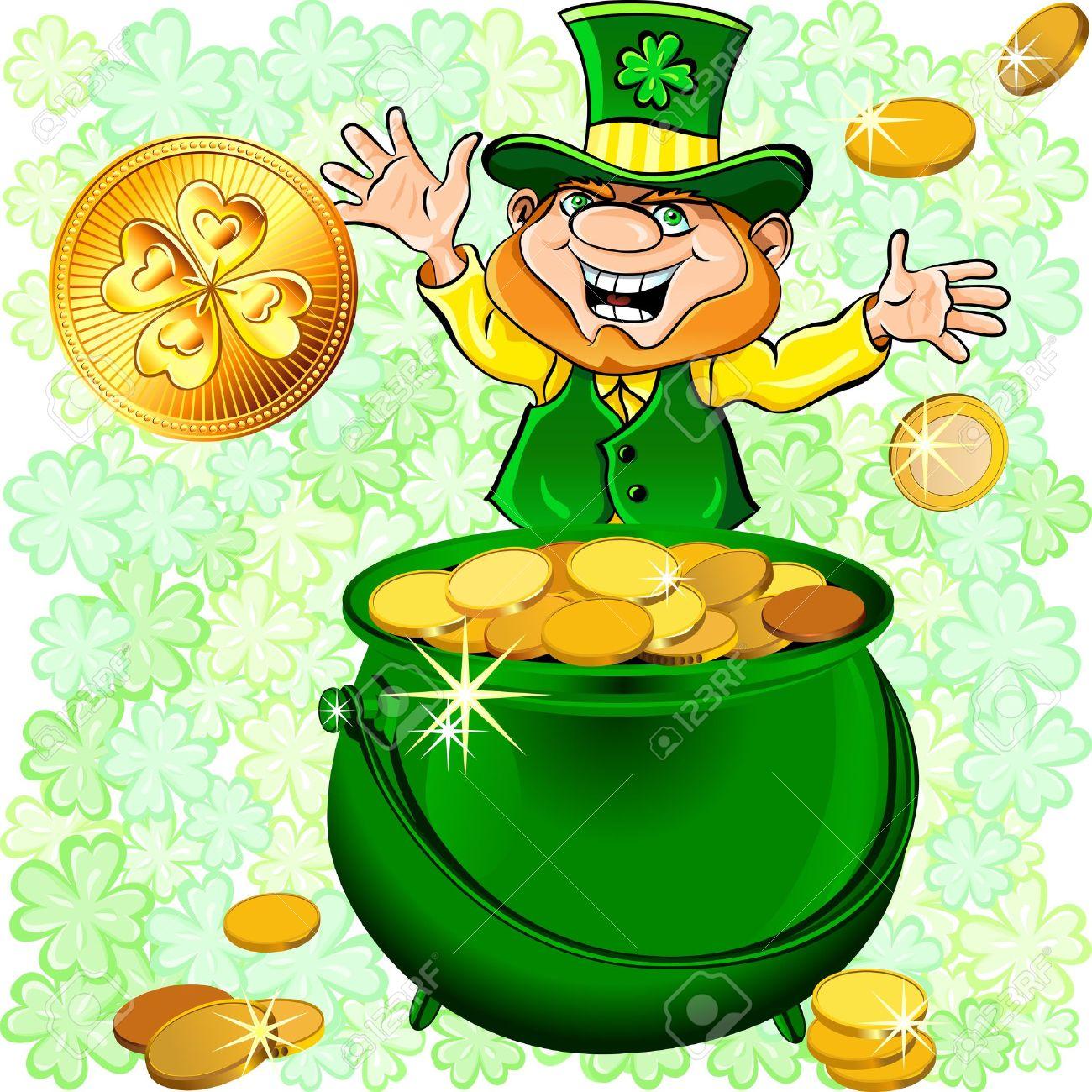Bon Vendredi  -  Joyeuse Saint Patrick  12275416-Journ-e-Vecteur-St-Patrick-heureux-lutin-avec-un-pot-plein-de-pi-ces-de-monnaie-d-argent-d-or-Banque-d'images