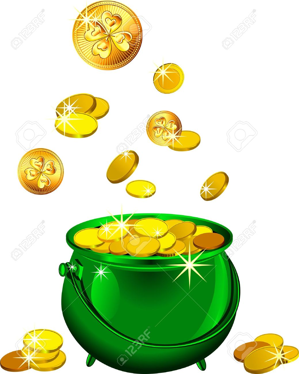 Uncategorized Leprechaun Pot st patrick s day shiny metal pot filled with leprechaun gold coins isolated on the white