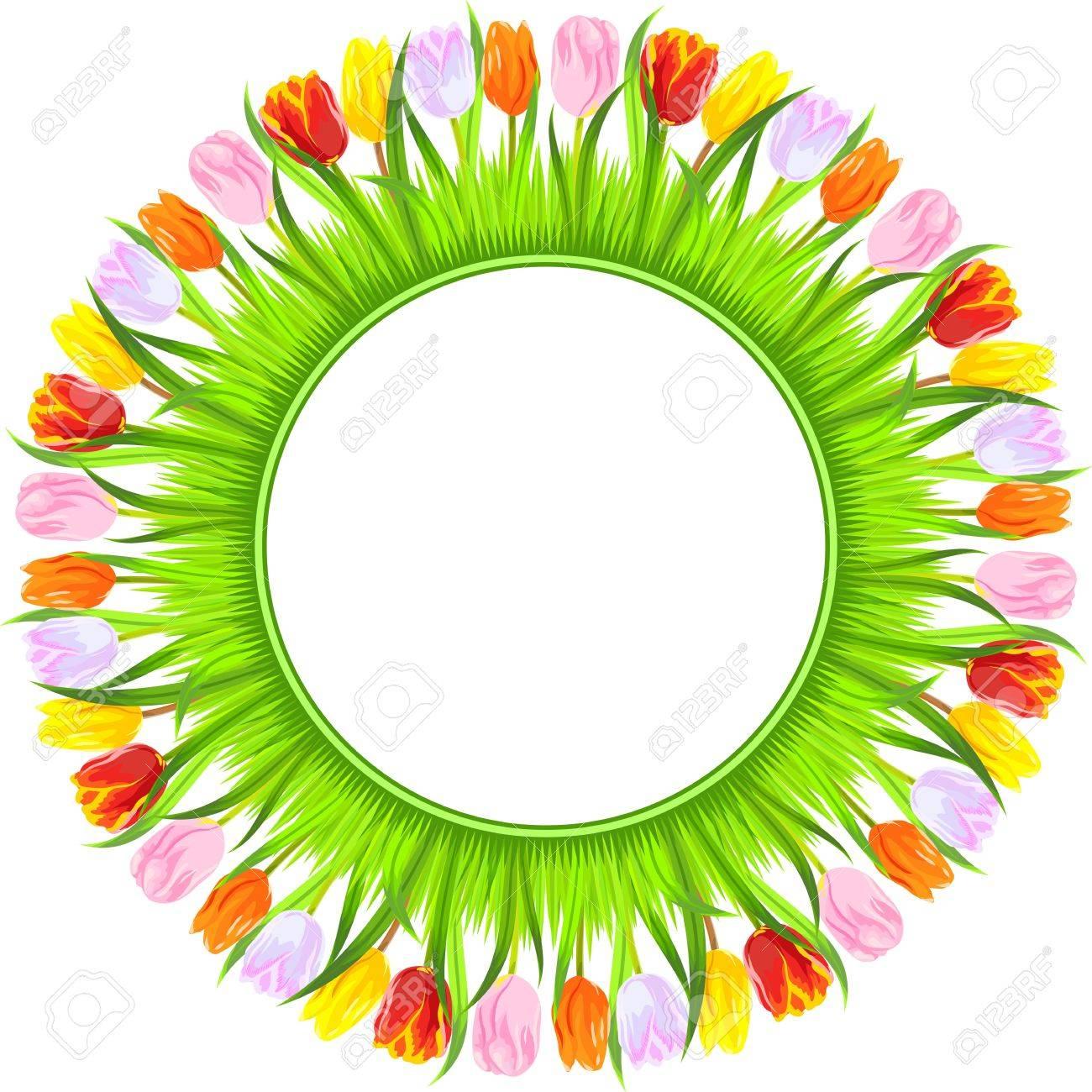 Marco De La Ronda De Los Tulipanes De Colores De Primavera En Una ...