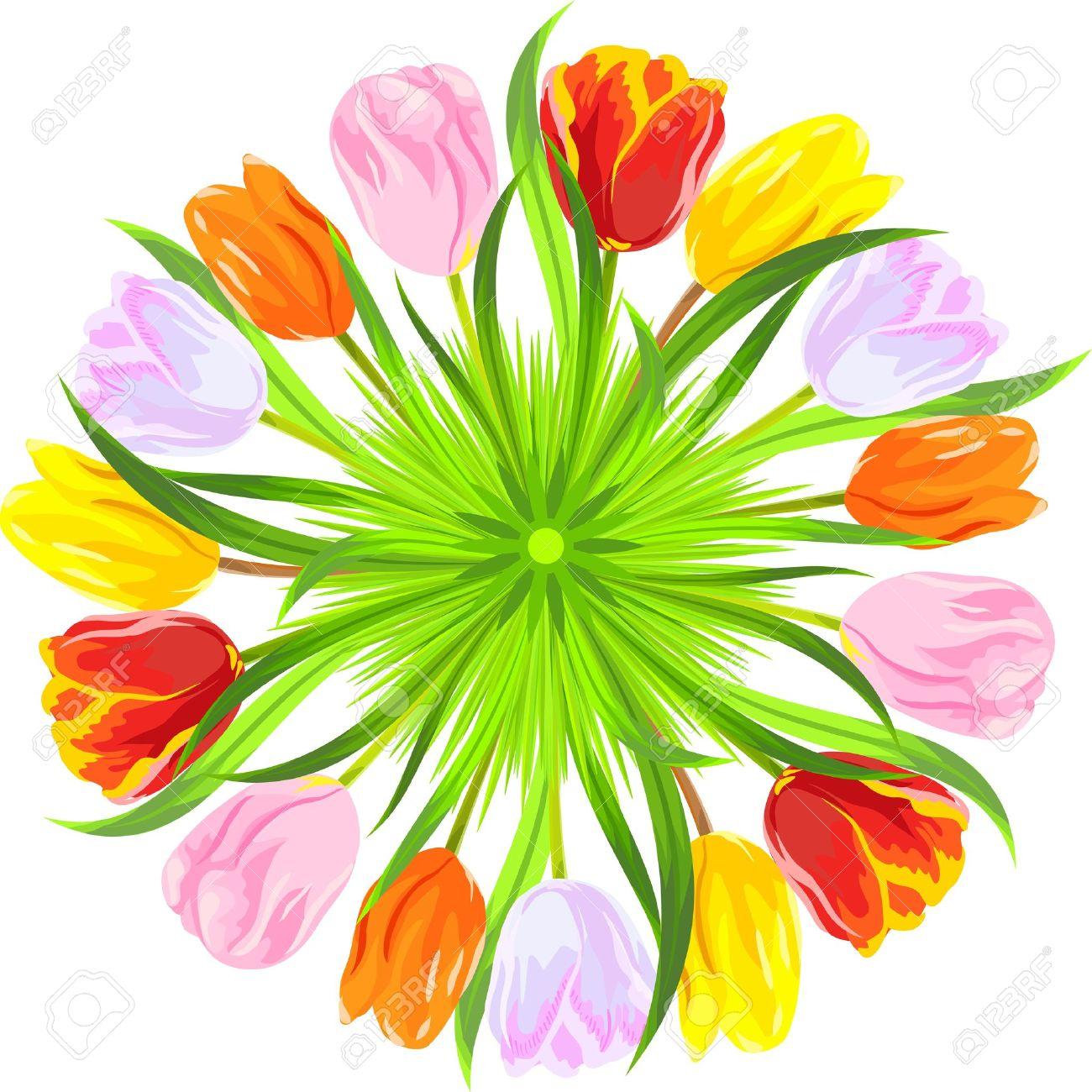 Círculo De Color Rojo, Amarillo, Rosa, Tulipanes De Color Naranja ...