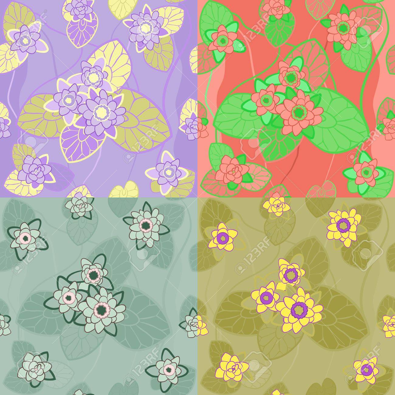 Four Color Combinations Seamless Pattern With Flowers And Leaves