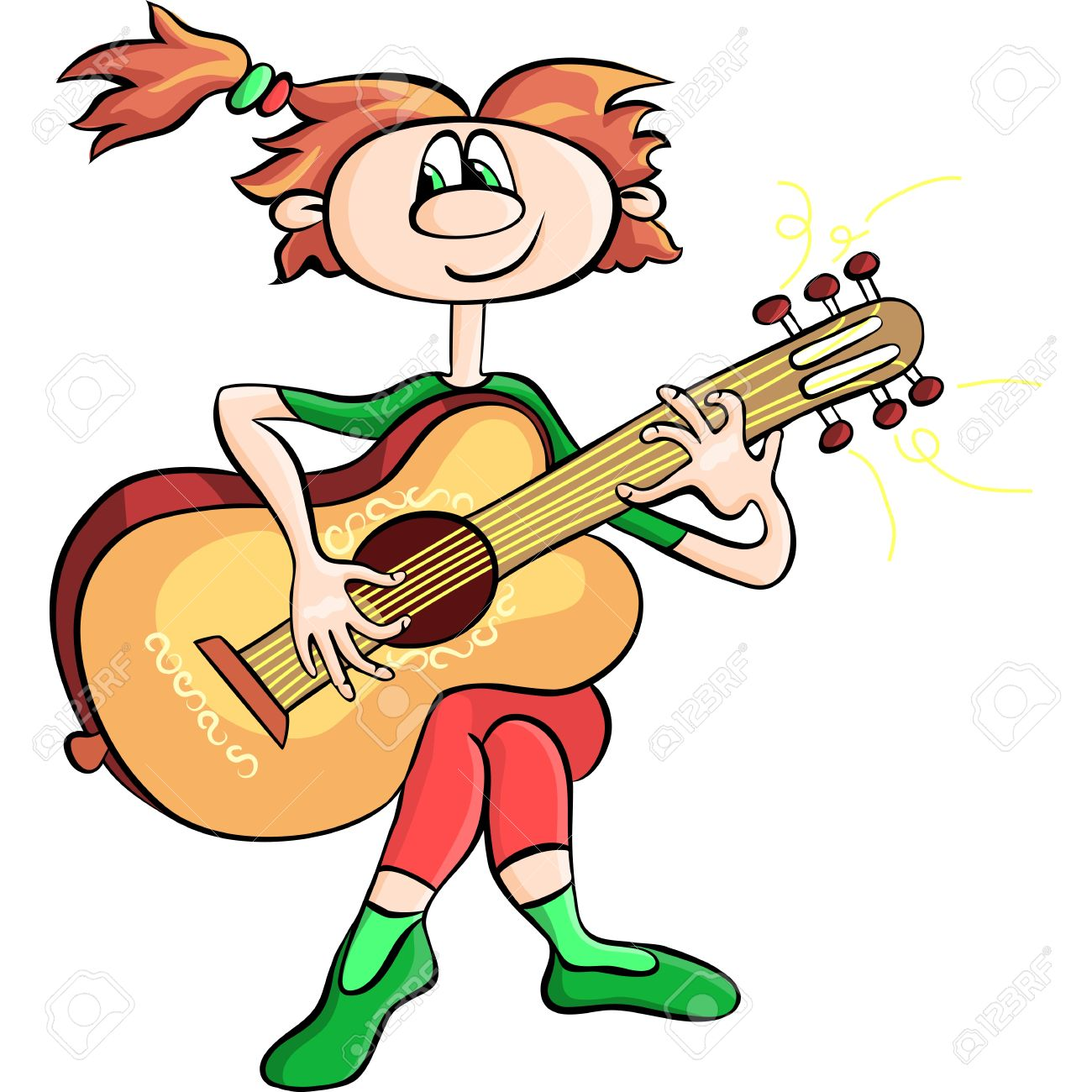 funny cartoon girl playing the guitar Stock Vector - 12946290