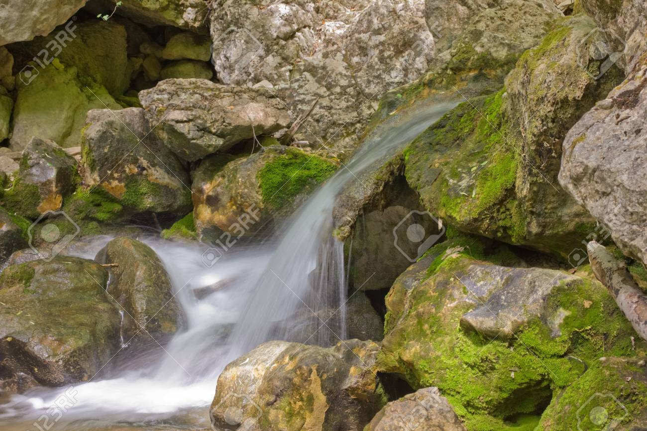 mountain stream with waterfalls in the Grand Canyon in Crimea Stock Photo - 13844758