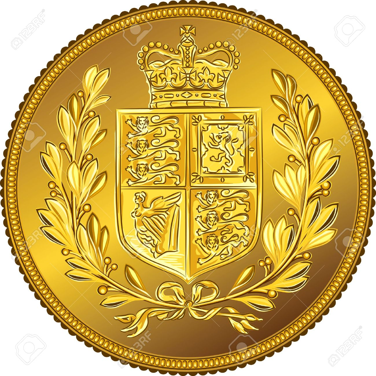 British money gold coin Sovereign with the image of a heraldic shield and crown, isolated on white background - 13880937