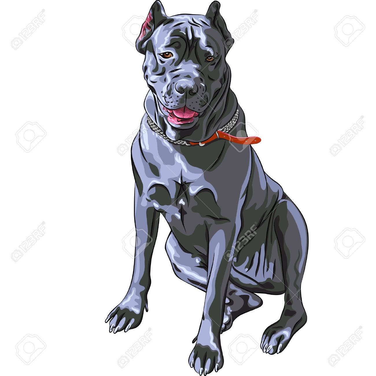 sketch of the dog black Cane Corso breed, large Italian Molosser,  sitting Stock Vector - 15563954
