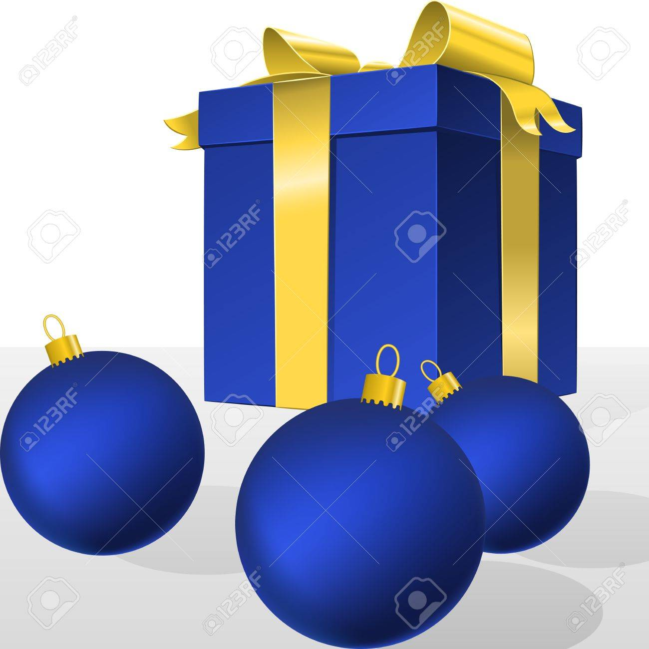 blue gift box with gold ribbon bow and christmas balls, isolated on white Stock Vector - 16431637