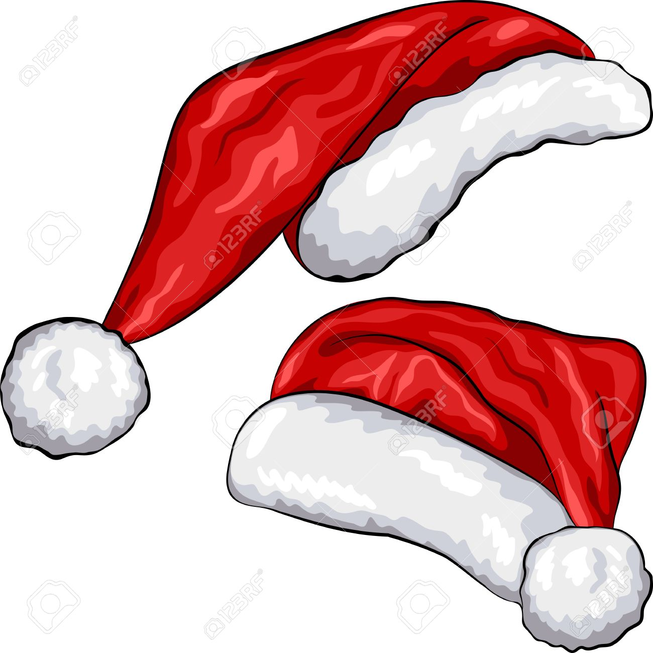 red Christmas Santa Claus hats isolated on white background - 16510884