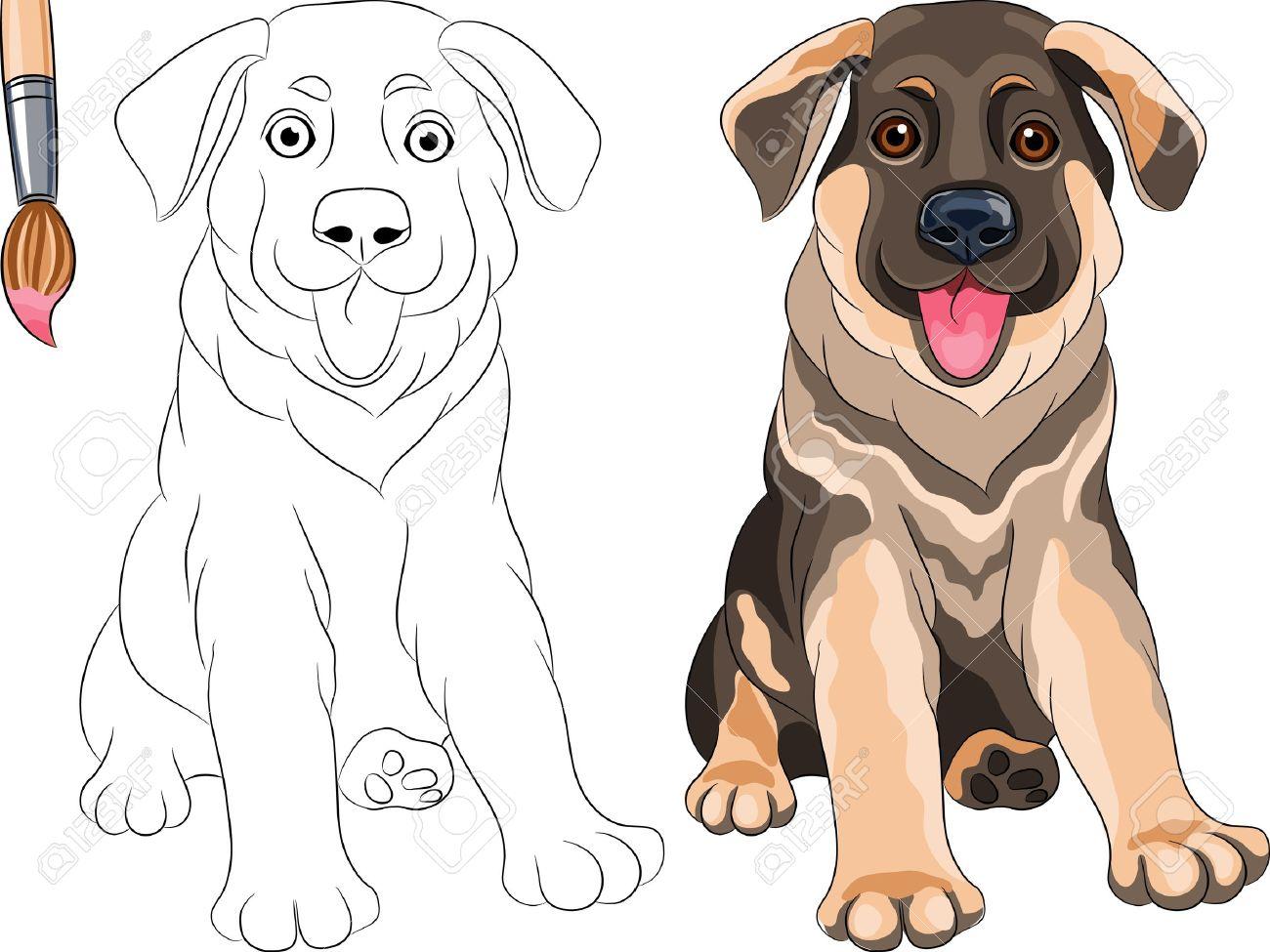 Vector Malbuch Für Kinder Lustige Lächelnde Puppy Dog ??Deutscher