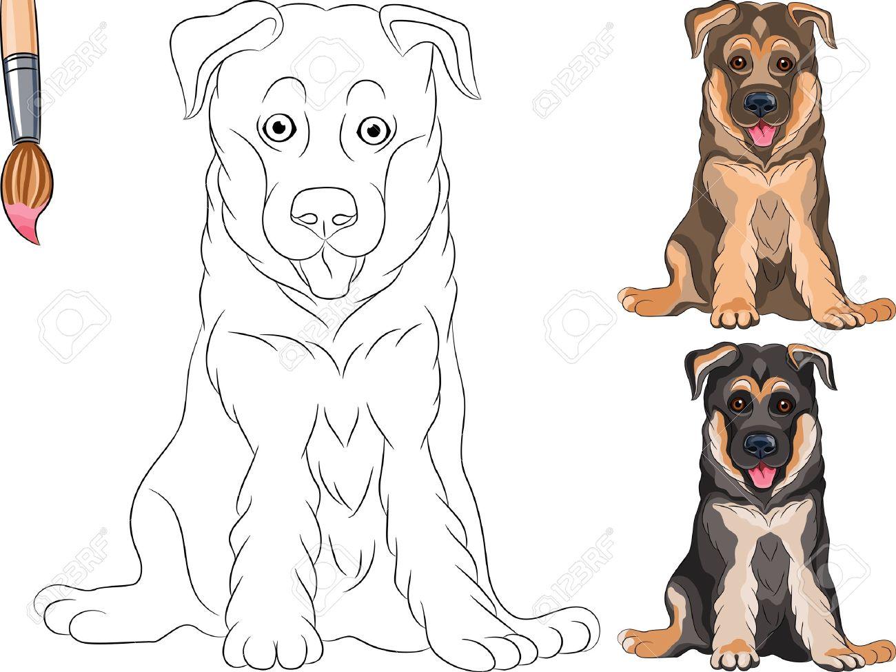 Libro Para Colorear Para Los Niños Del Divertido Perro Sonriente ...
