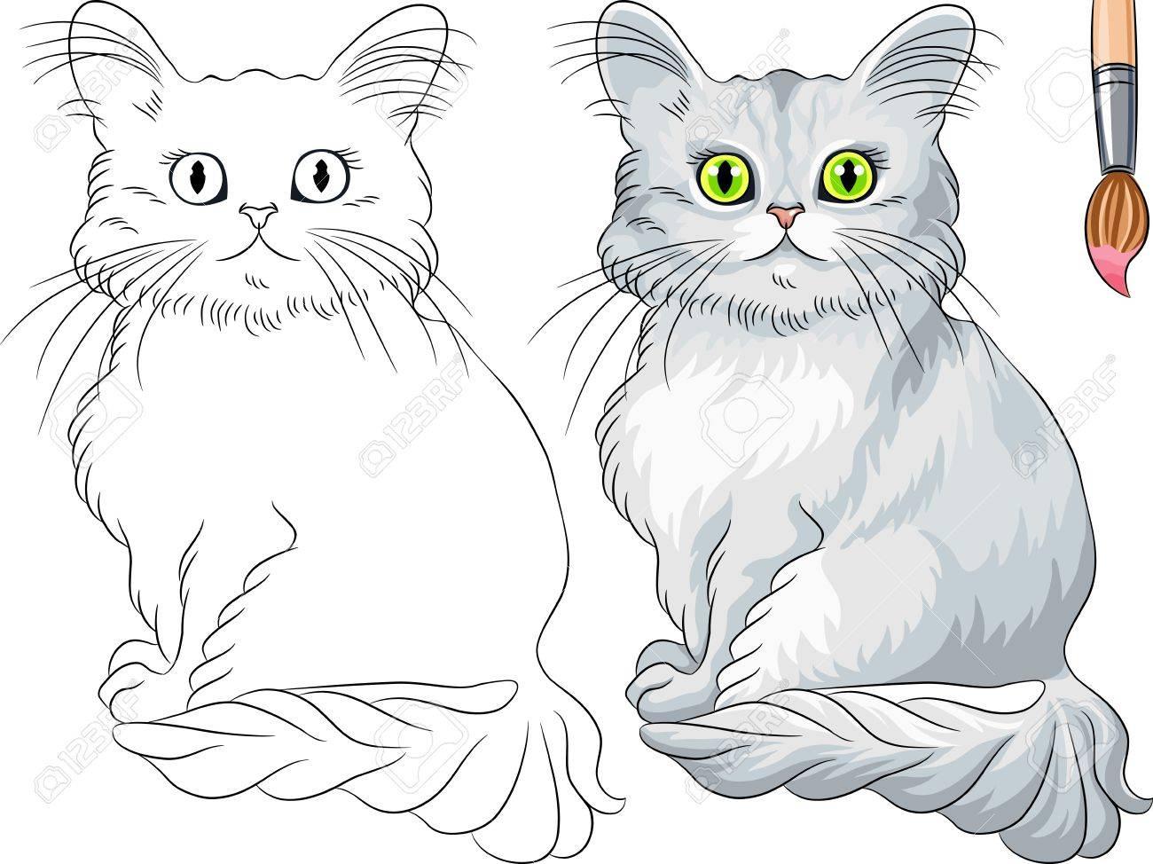 Vector Libro Para Colorear Para Los Niños De Asia Divertido Gato De ...