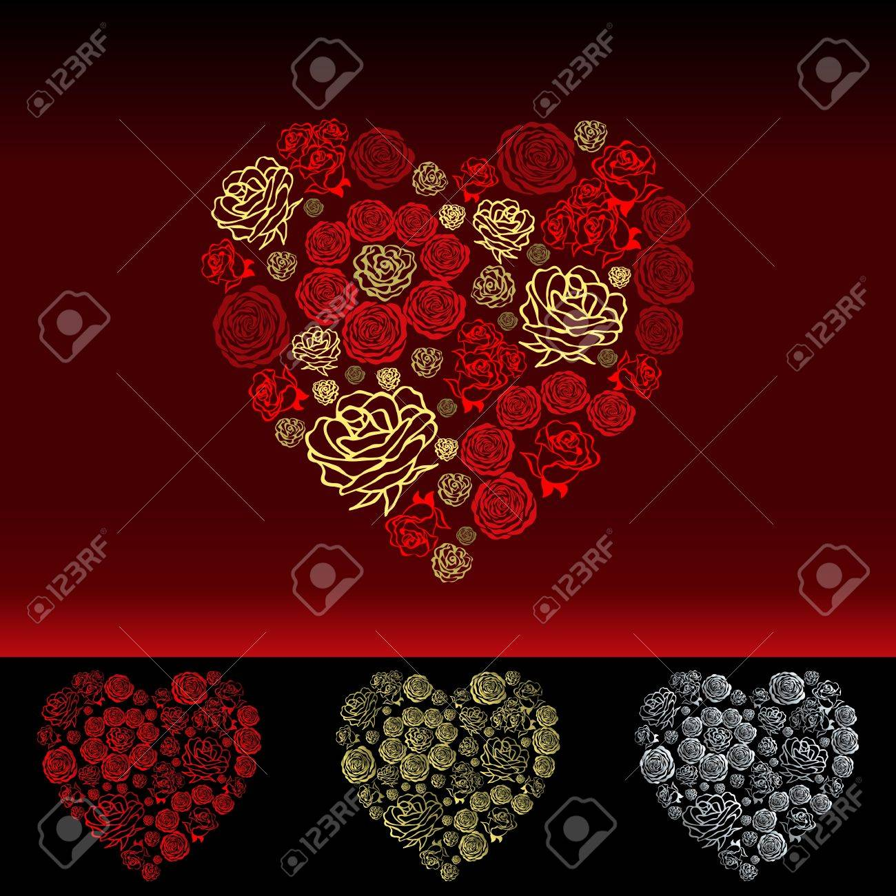 red Valentine's Day Card with beautiful white hearts of flowers roses Stock Vector - 16879003