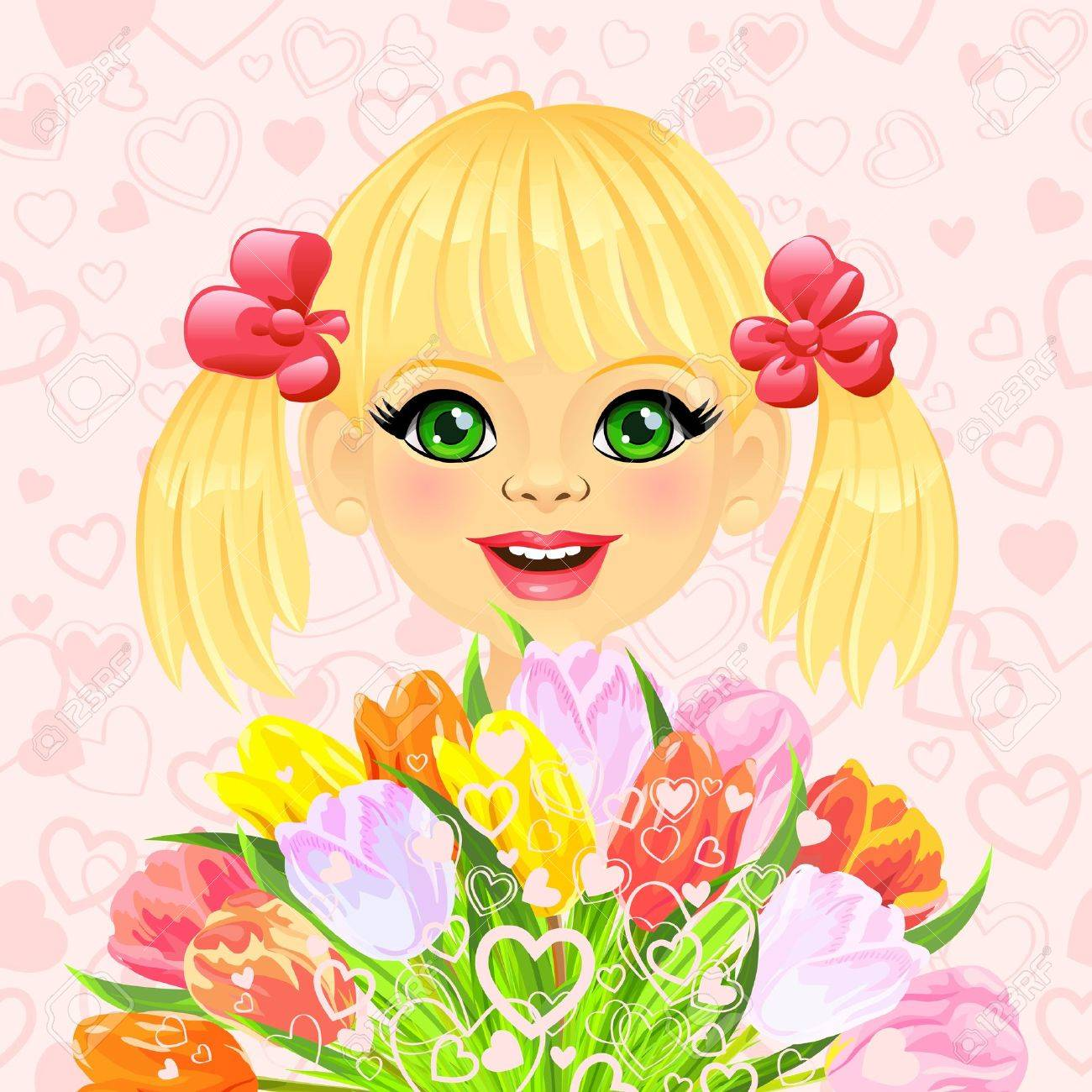 pink valentine card with a beautiful little girl with a big bouquet of flowers tulips on the background of hearts Stock Vector - 17192170