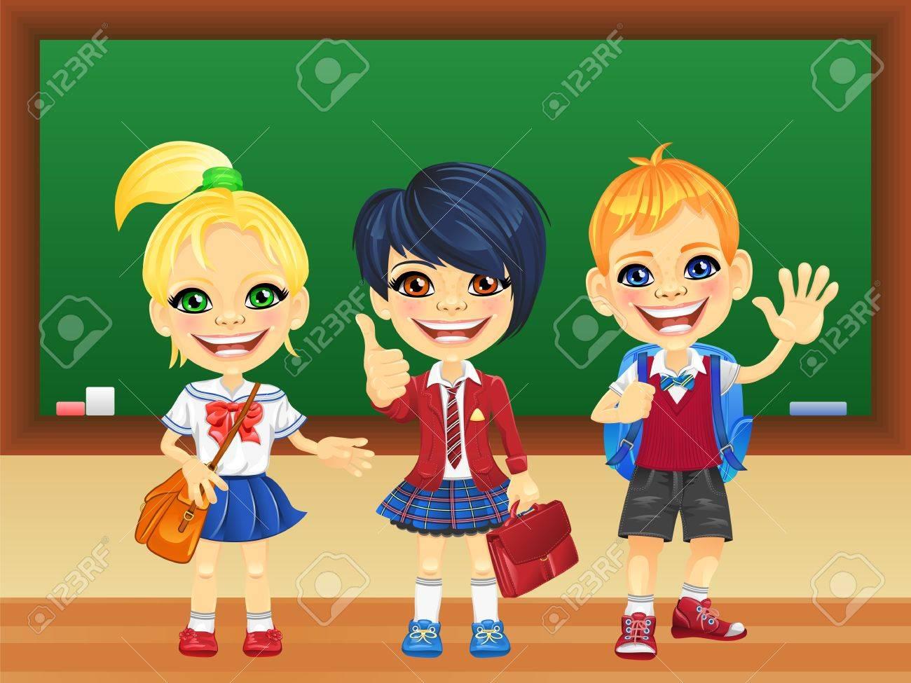 Niñas Felices Sonriendo Escolares Y Un Niño Con El Uniforme De La ...