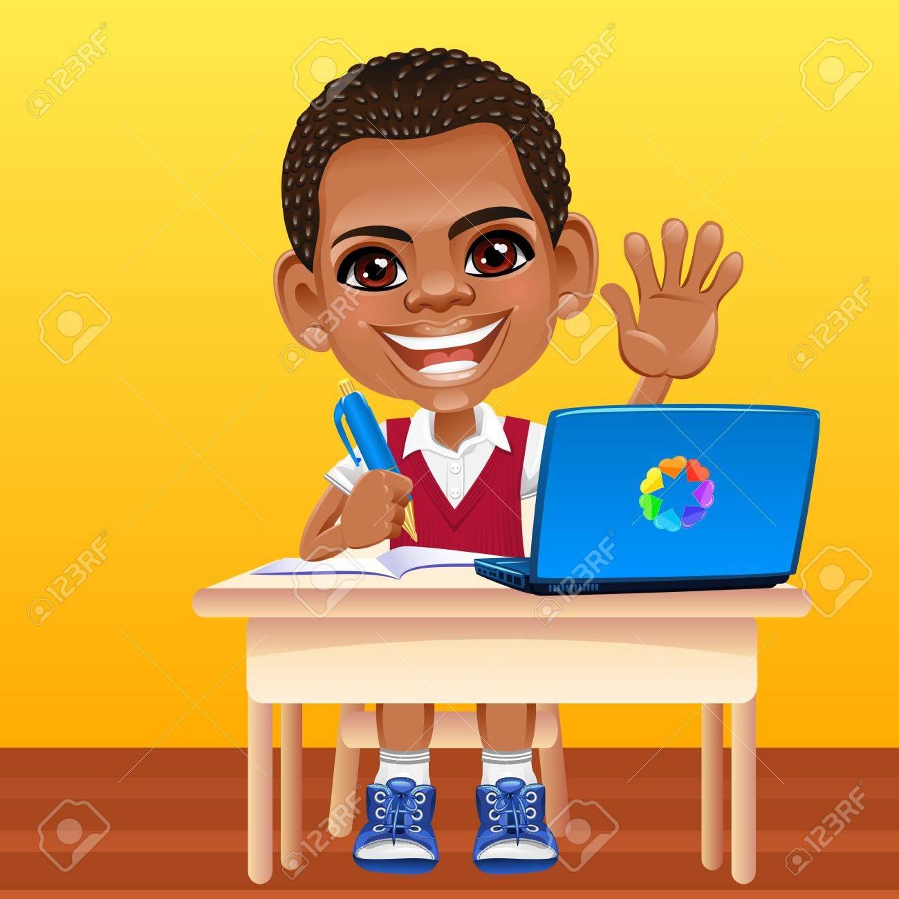 Ecolier heureux de sourire écolier africain dans un uniforme scolaire assis
