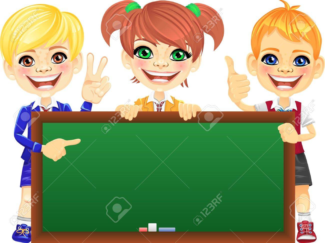 Smiling happy schoolchildren with green banner Blackboard for your text or picture Stock Vector - 18206122