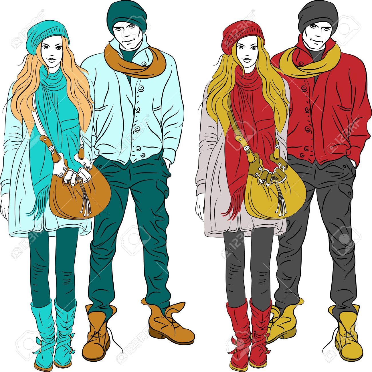 establecer chico y una chica con estilo de la moda en ropa de abrigo en dos