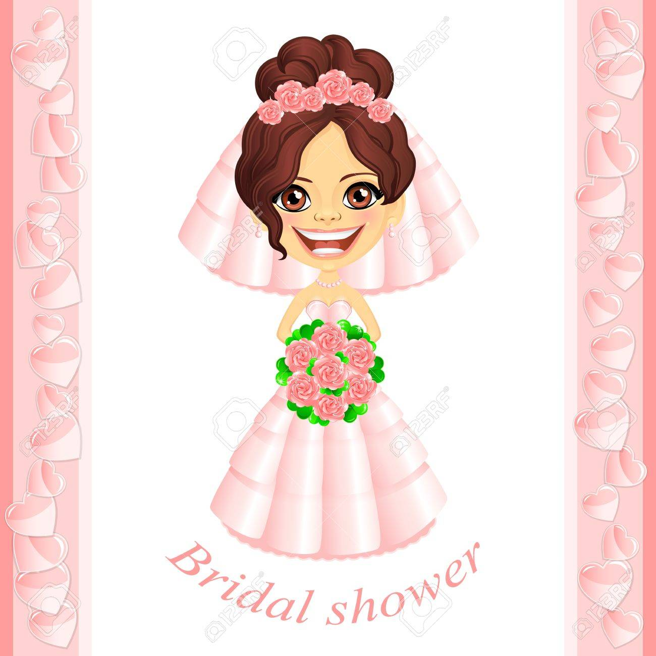 Miraculous Vector Bridal Shower Invitation With Cute Cartoon Bride Royalty Hairstyles For Men Maxibearus