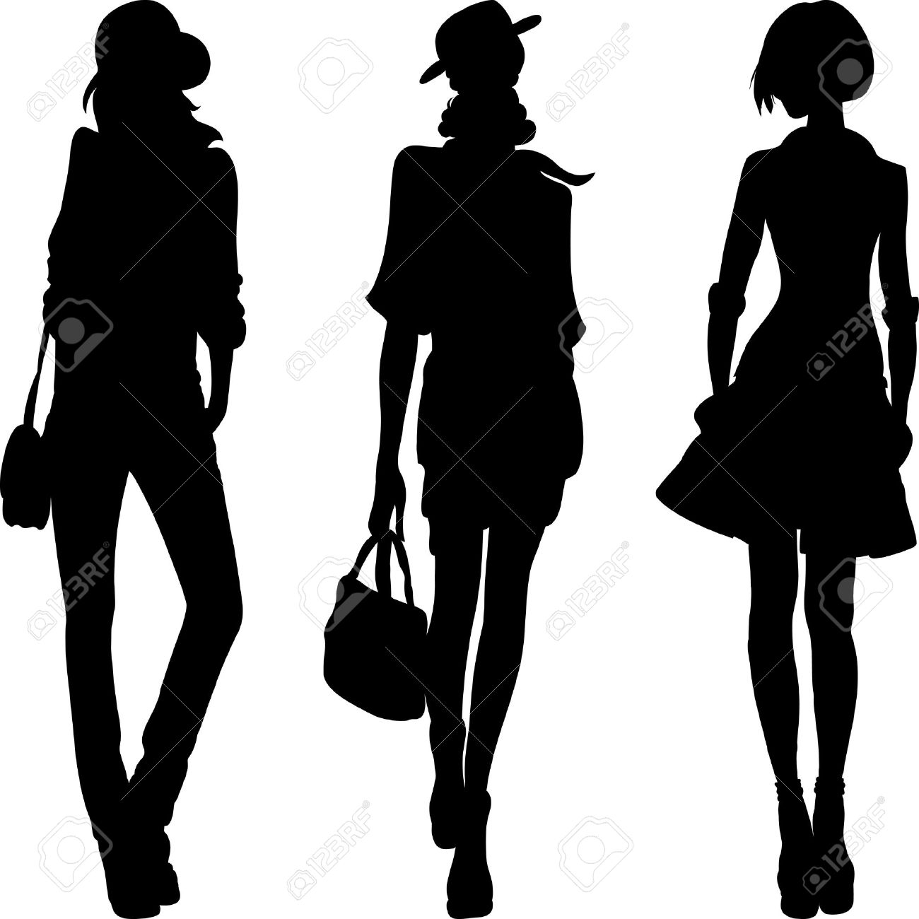 set 1 silhouette of fashion girls top models - 22719197
