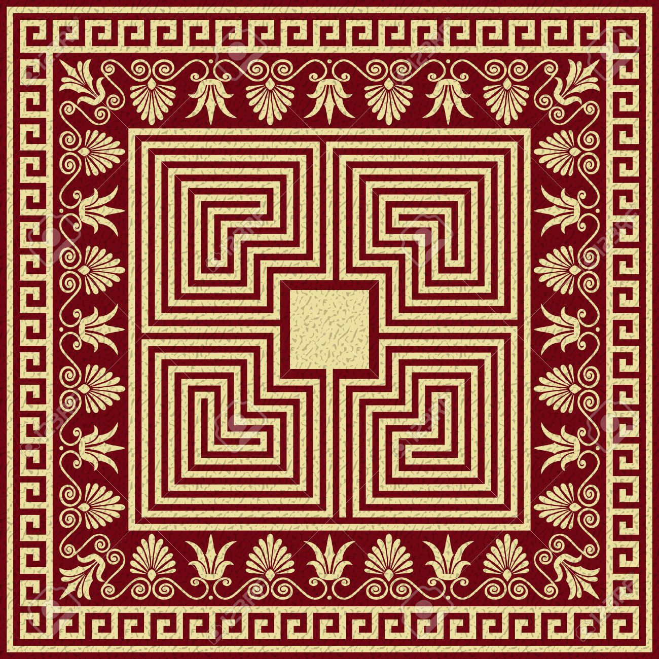 Vector set Traditional vintage golden square and round Greek ornament Meander and floral pattern on a red background - 23861110