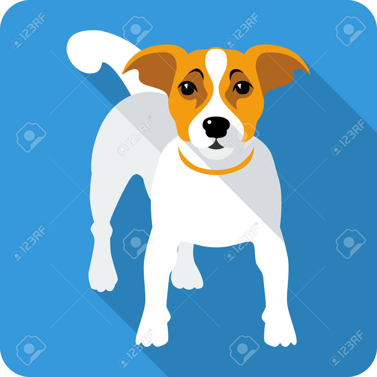 Dog Jack Russell Terrier Icon Flat Design Royalty Free Cliparts ...