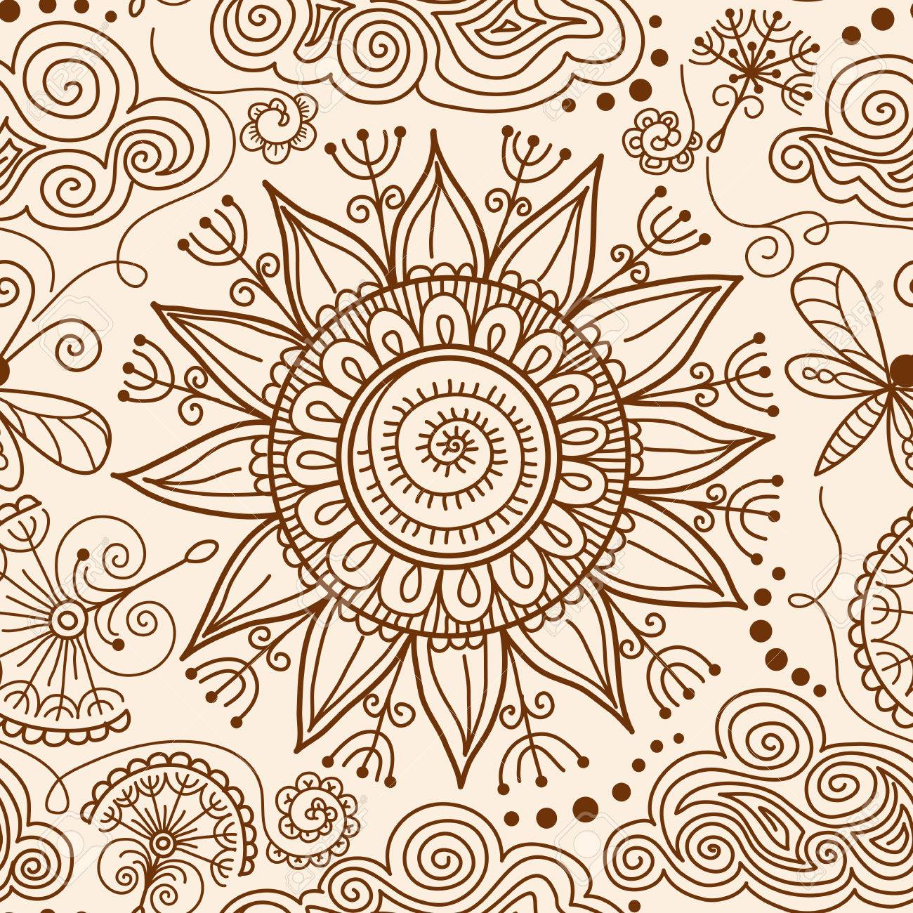 Vector Seamless Pattern Hand Drawn Henna Mehndi Tattoo Doodle