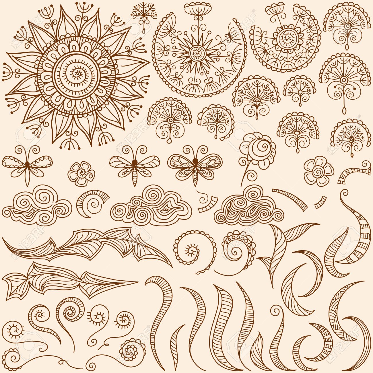 Vector Hand Drawn Henna Mehndi Tattoo Doodle Design Elements