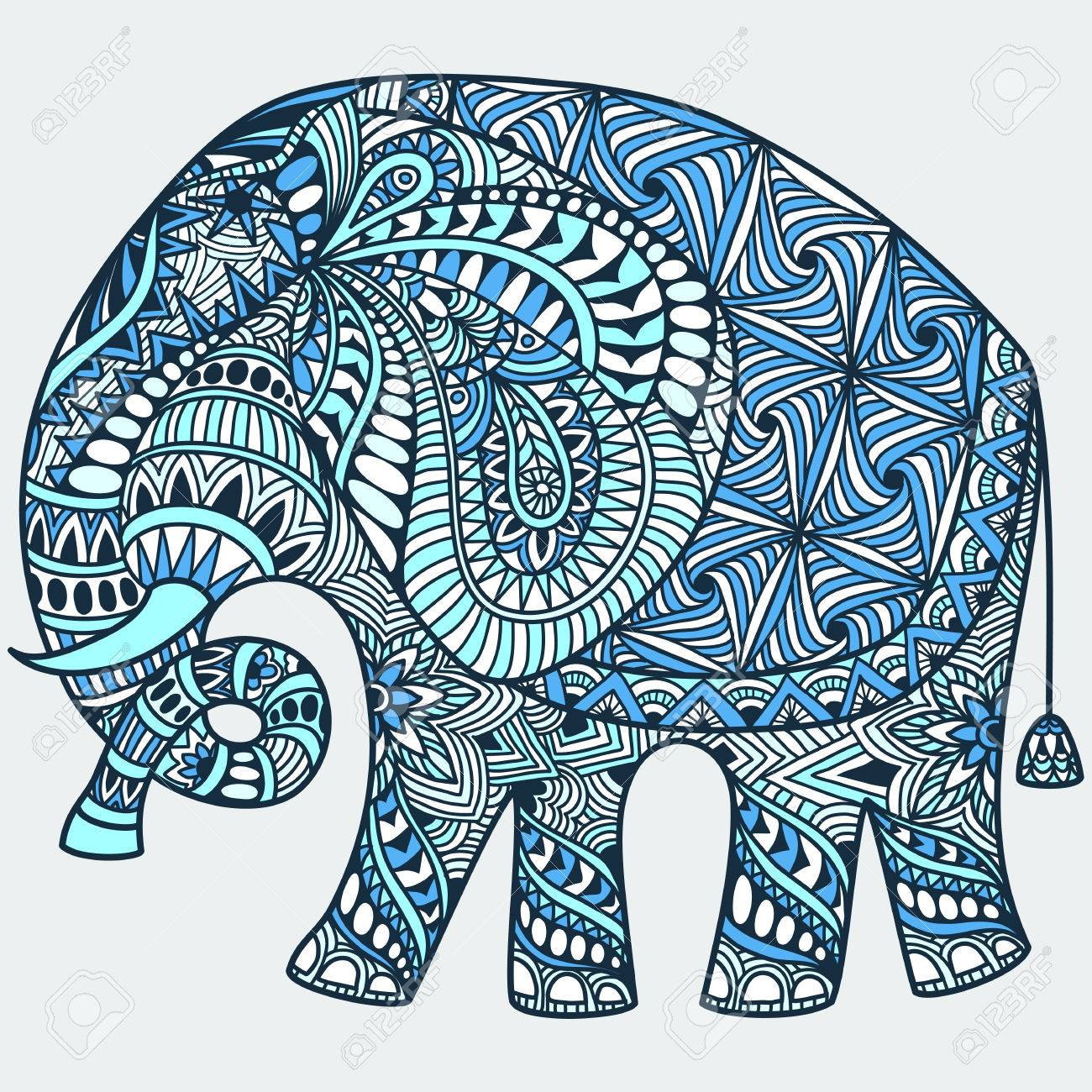 Vector Hand-drawn Blue Tattoo Doodle With Decorated Indian Elephant ...