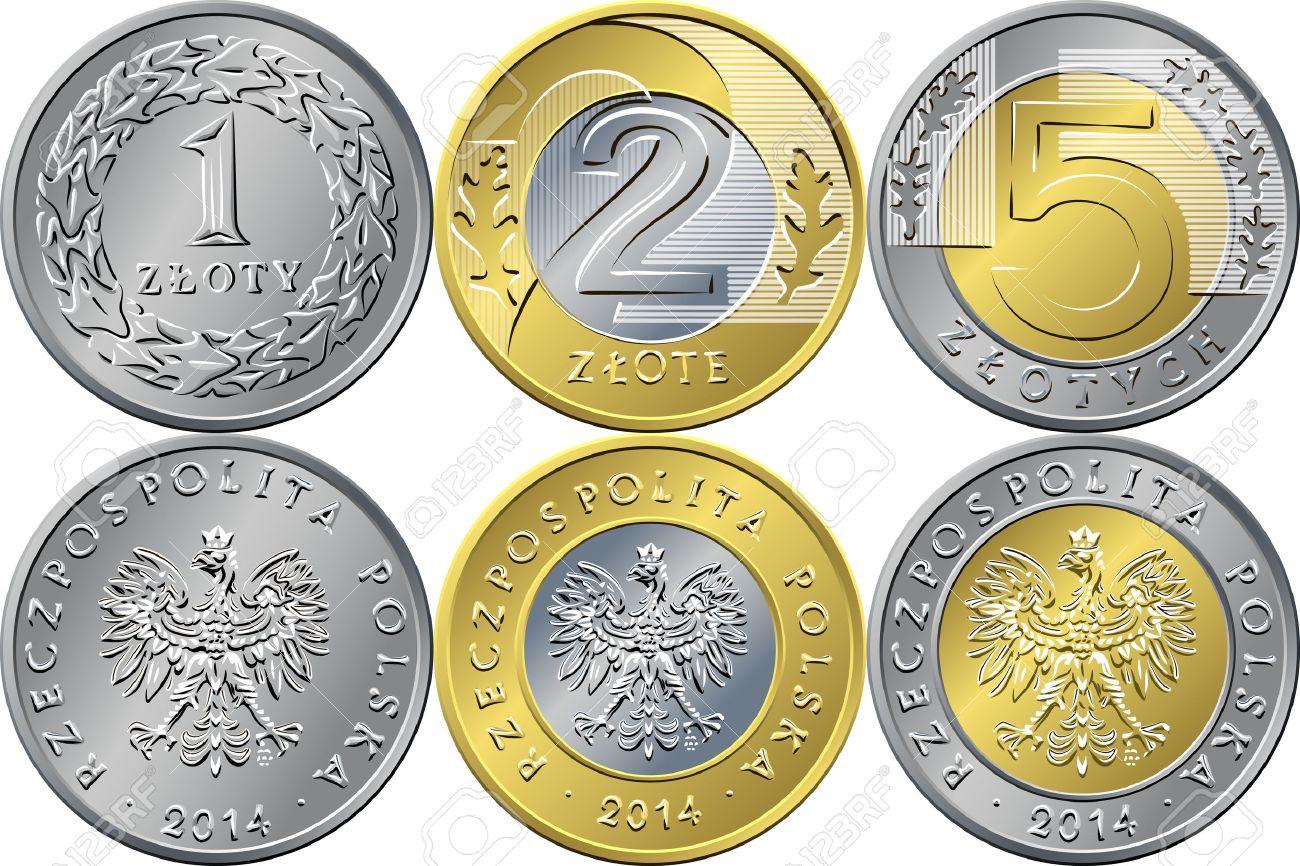 Vektor Reverse Und Avers Polish Money Eins Zwei Und Fünf Zloty Gold