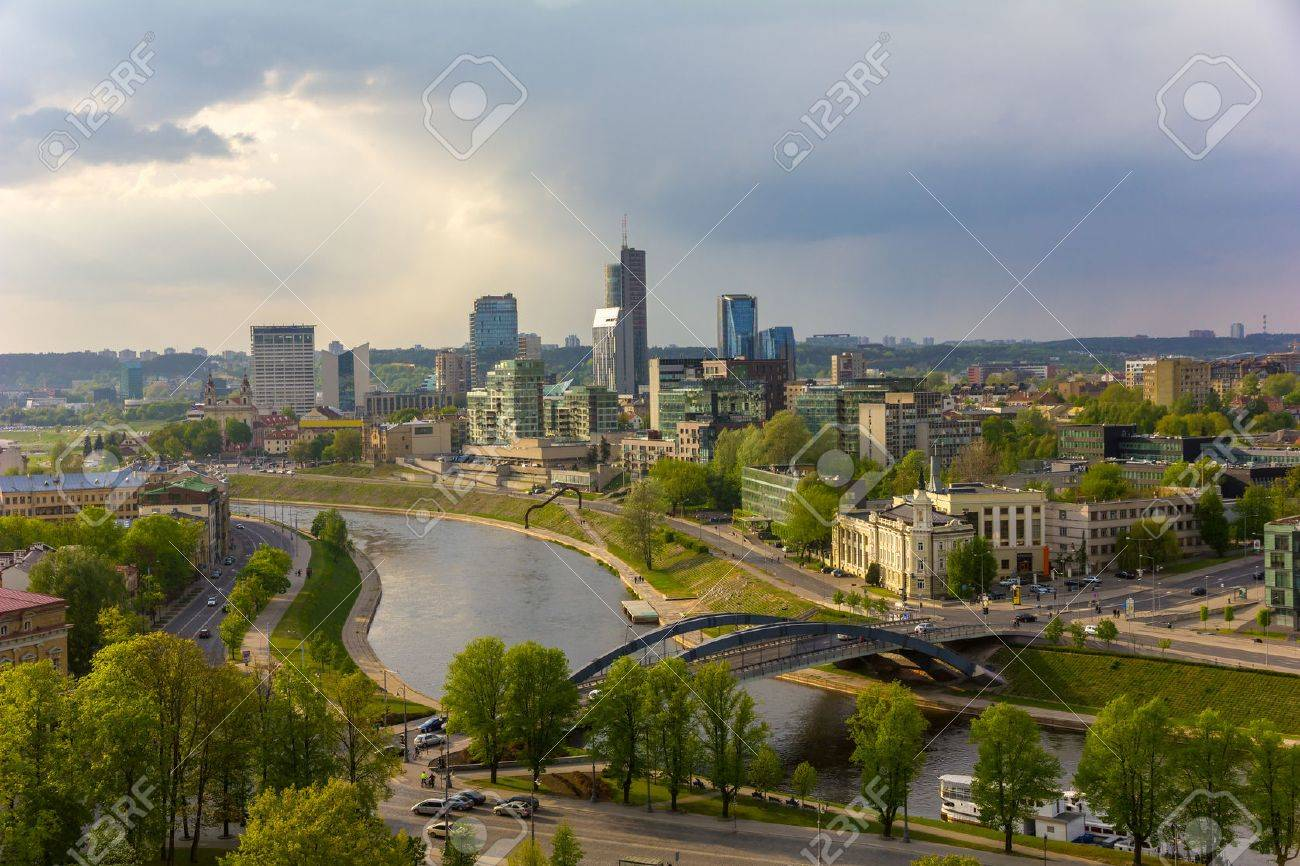 View from the Gediminas' Tower in the city Vilnius, Lithuania, Baltic states. - 49280057