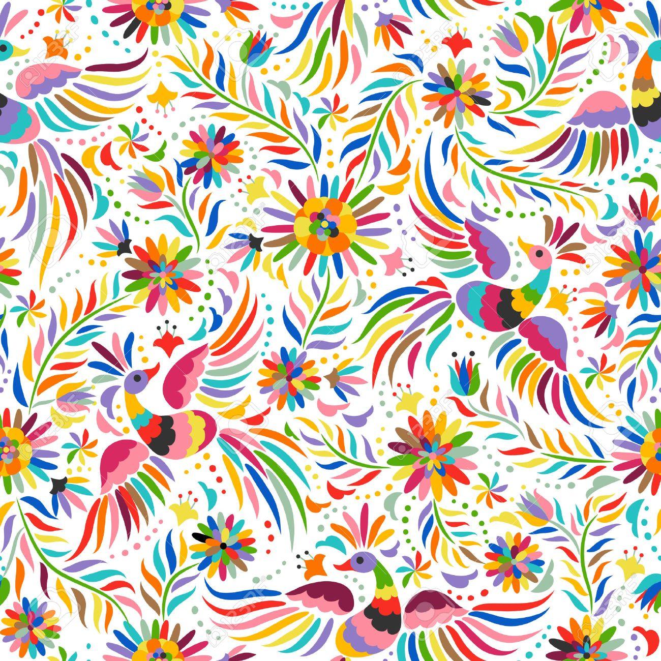 Bordado mexicana patrón transparente. patrón de colores étnicos y adornado.  Los pájaros y las 20b3c1fbb2f26
