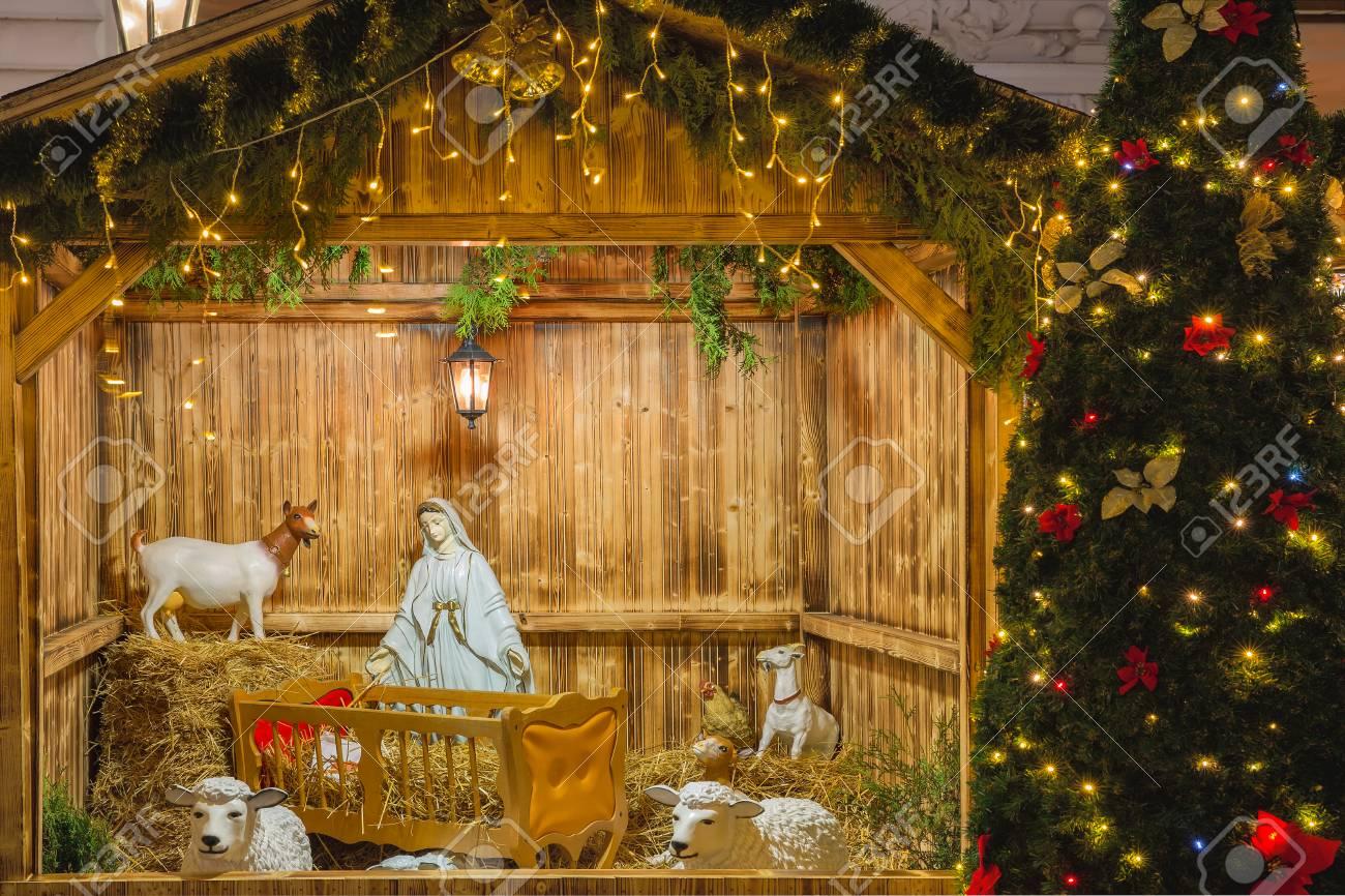 Nativity Scene With Holy Family Of Joseph Mary Baby Jesus Christ