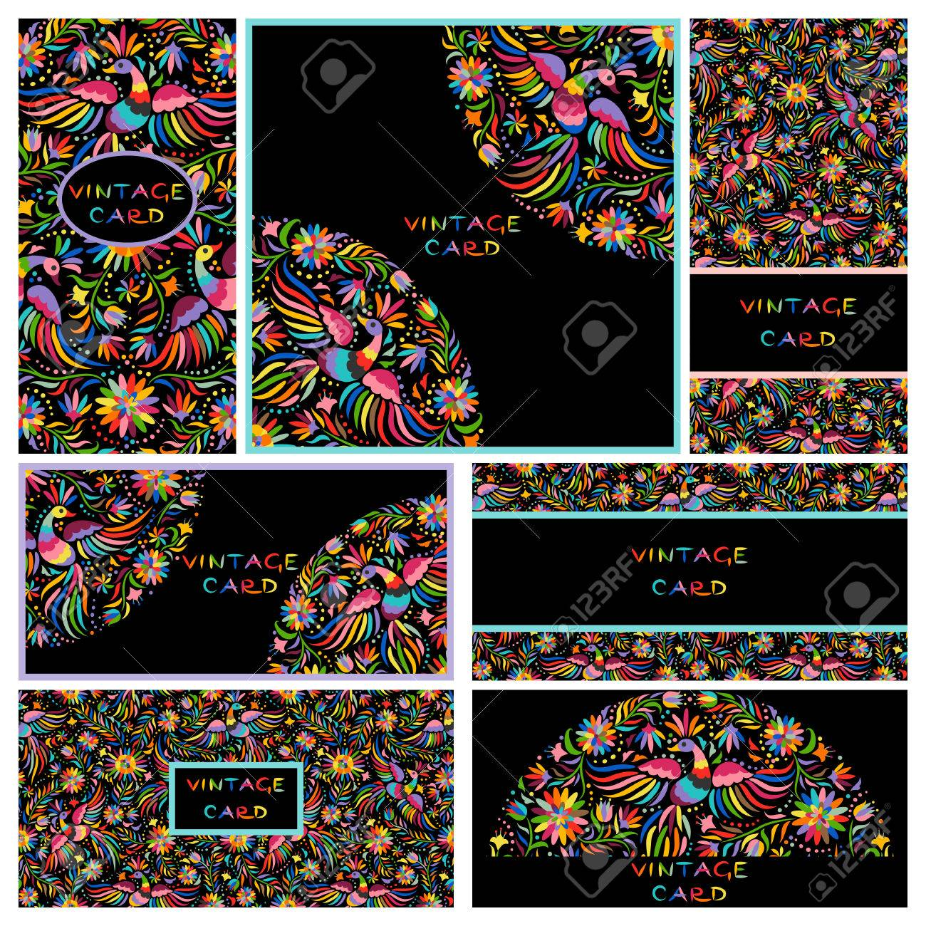 Vector set of artistic creative business cards with black floral vector vector set of artistic creative business cards with black floral mexican embroidery pattern and ornaments hand drawn textures reheart Gallery