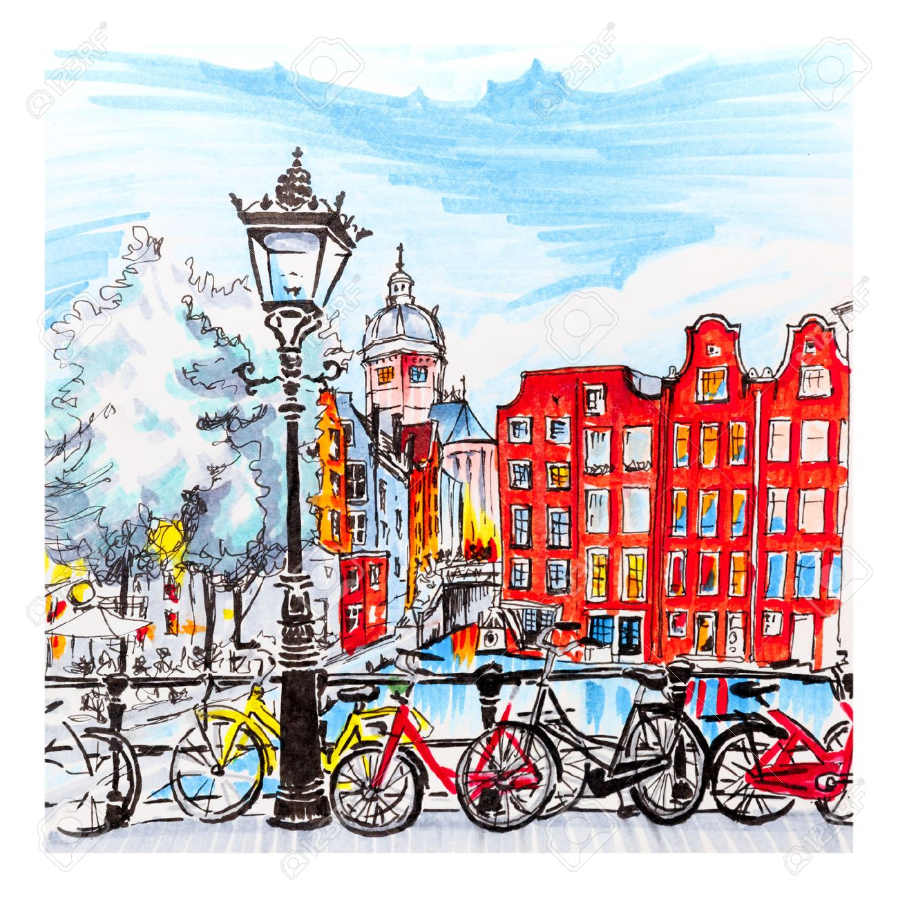 Color hand drawing, city view of Amsterdam typical houses, Holland, Netherlands. Picture made markers - 67132193