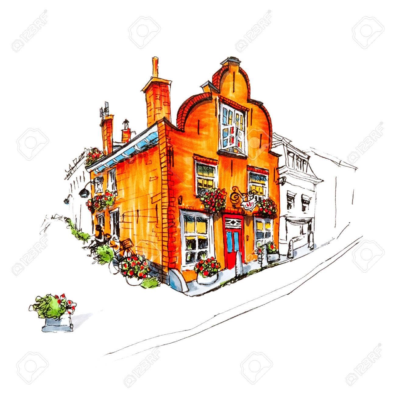 Banque dimages dessin à la main couleur vue sur la ville pittoresque de delft avec une belle maison médiévale hollande pays bas