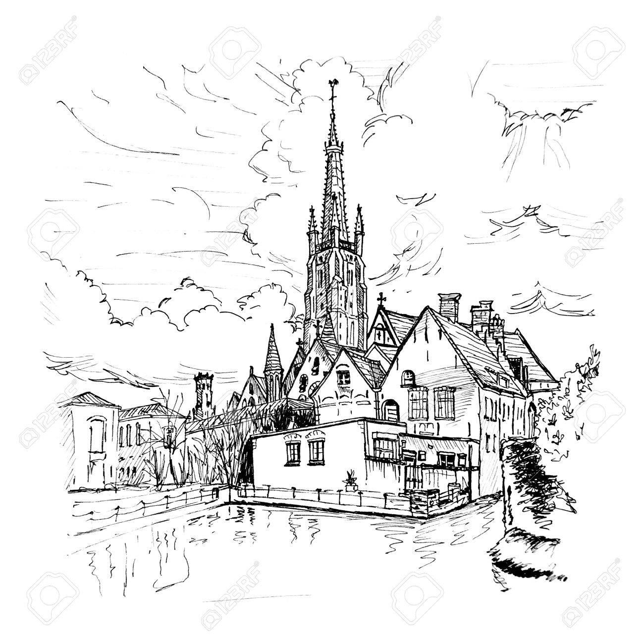 Dessin Noir Et Blanc à La Main Paysage Pittoresque De La Ville Avec Un Lac Lhôpital Old St Johns Et Léglise Notre Dame De Bruges En Belgique