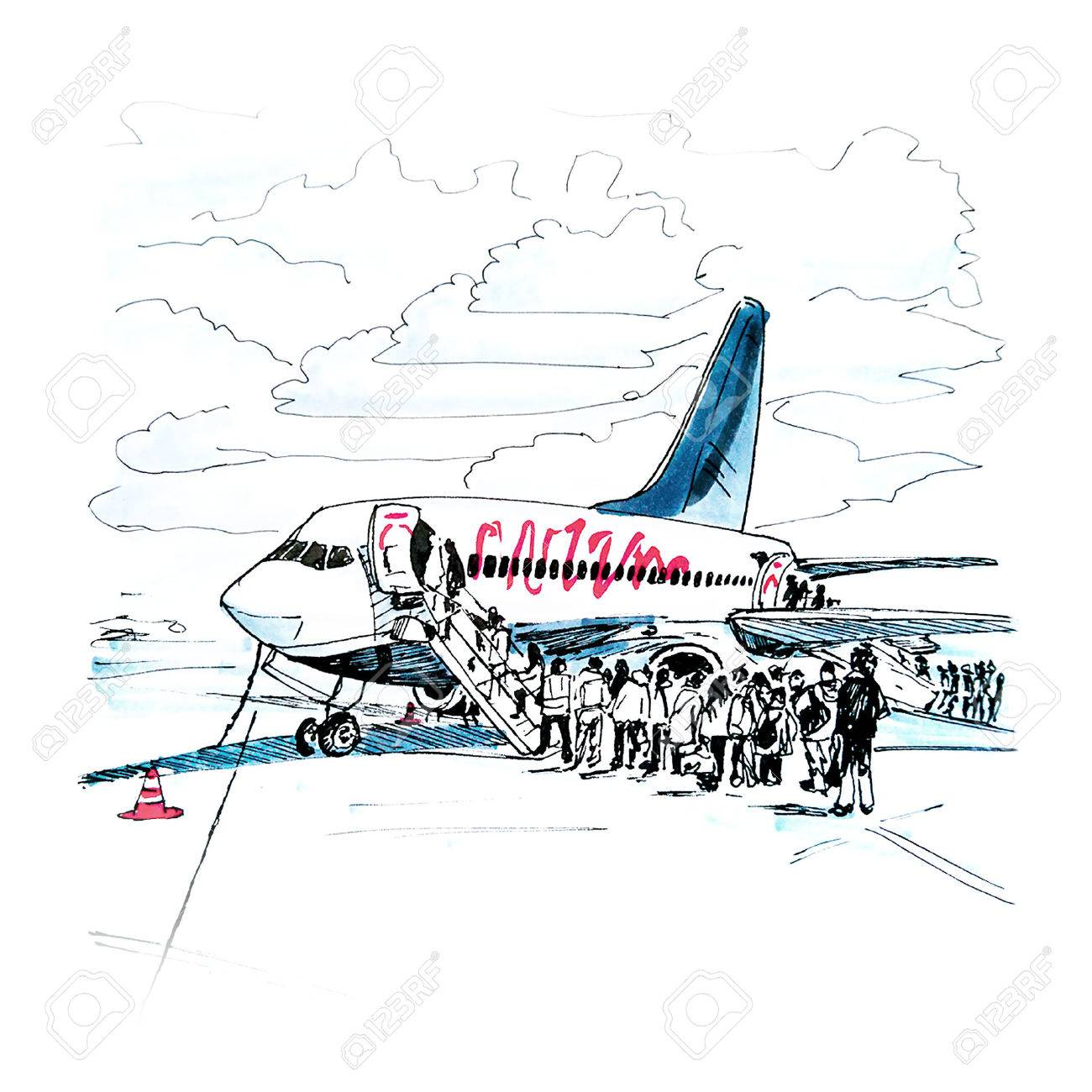 Color hand drawing, embarking passengers on the plane at the