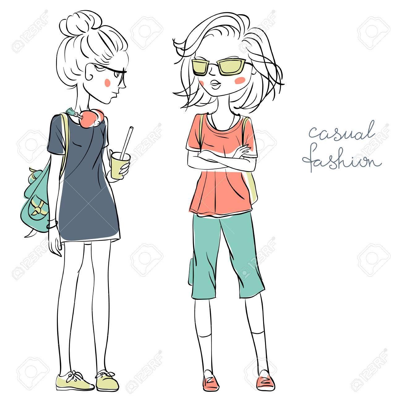 カジュアルな服のベクトルで手書きかわいい美しい女の子 写真素材 , 72448702