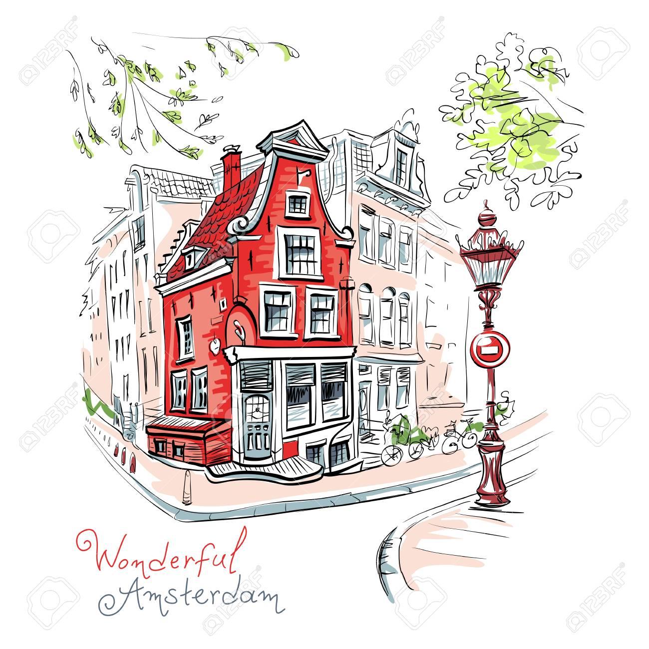 Banque dimages dessin à dessin de couleurs vectorielles vue sur la ville de maison typique damsterdam avec cigogne et lanterne hollande pays bas