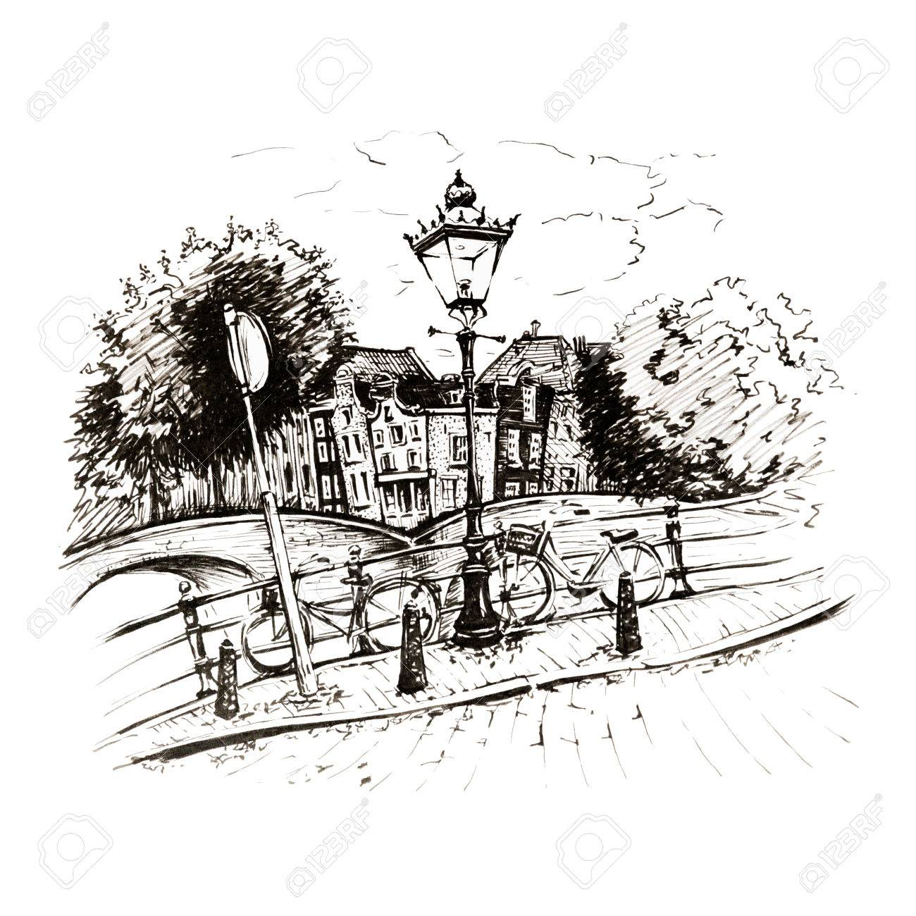 Black and white hand drawing, city view of Amsterdam typical houses, bridges and streetlight, Holland, Netherlands. Picture made liners - 80614383