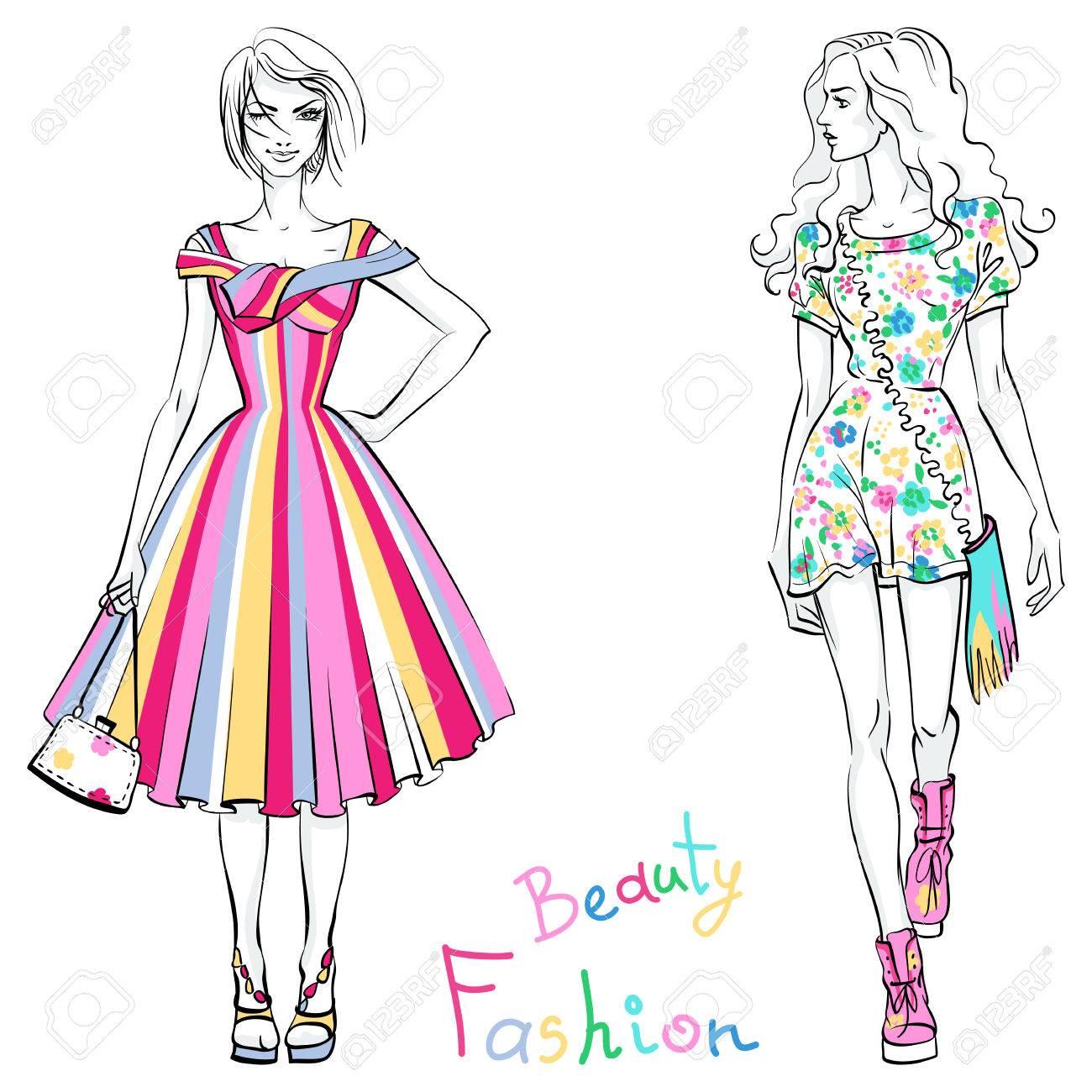 ベクトルの碑文の美しさとファッションのカラフルなドレスで美しいおしゃれな女の子。
