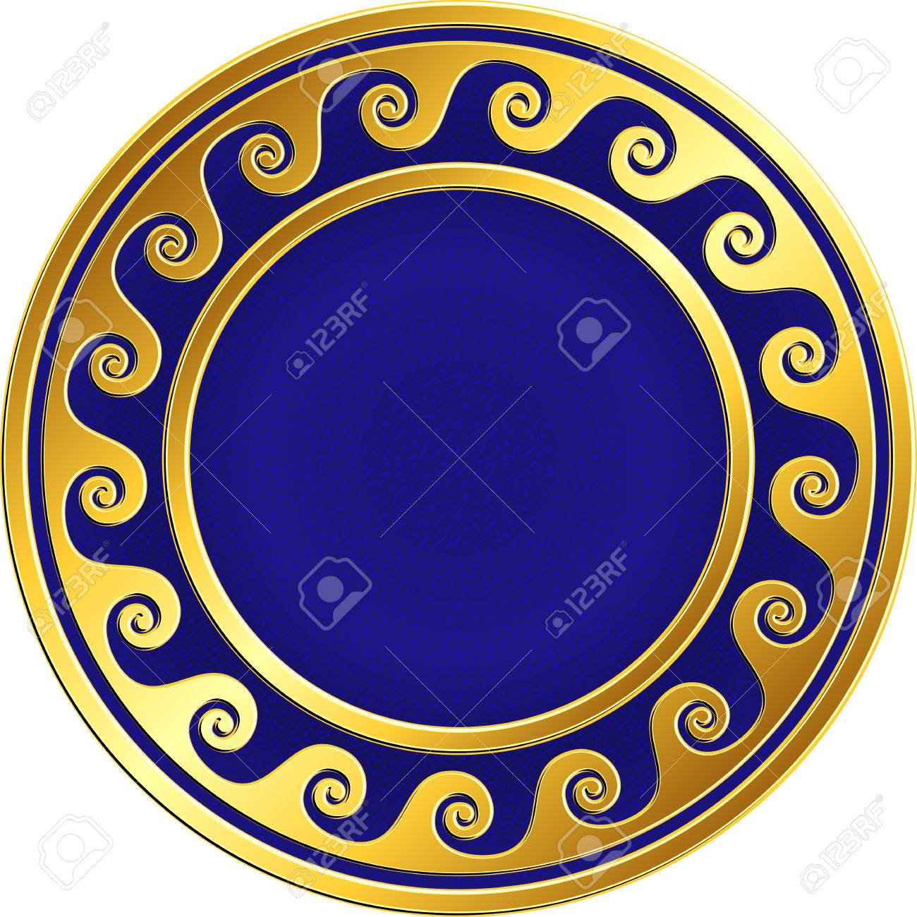 bd699e416a8a Golden round frame with traditional vintage Greek Meander pattern on the  blue background for design template. Gold pattern for decorative tiles and  plates ...