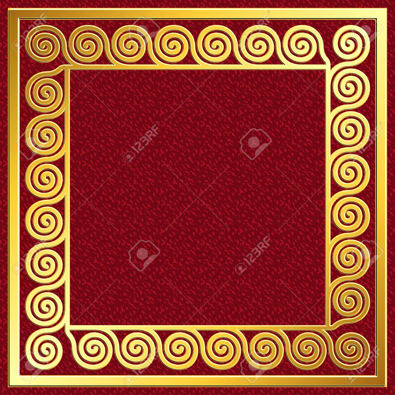 Golden square frame with traditional vintage greek meander pattern golden square frame with traditional vintage greek meander pattern on red background for design template jeuxipadfo Gallery